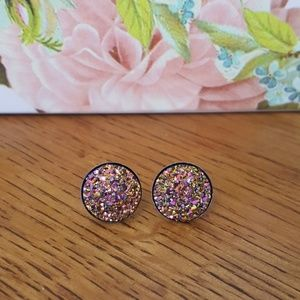 Gold with Pink Druzy Earrings